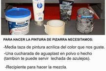 PINTURA DE PIZARRA CASERA / HACER PINTURA CASERA DE PIZARRA, E IDEAS PARA PINTAR CON ELLA