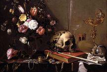 """Natura Morta con Teschio / La vanitas viene """"dopo"""" la natura morta. La scena degli oggetti radicalizza la rappresentazione di un ordine di realtà dal quale l'uomo è assente. Ma ad un certo punto la sparizione dell'uomo non è più una semplice e temporanea assenza, bensì il soggetto principale dell'immagine. Ed ecco che il cranio diventa onnipresente."""