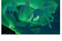 Stickers van, over, met ijslandse paarden