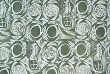 Lino block fabric / Examples of other lino block printed textiles - particularly mid 20th century ones - to give me inspiration!