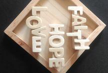 My handiwork...Fridge magnets from altered jenga blocks.