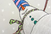 Snowflake mobiles + snowy mtn display ideas / by Mary Simmons Deaf Art