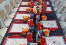 Aviator themed birthday party / Aviator themed birthday party styled by: Debbie Kennedy Events & Design: www.debbiekennedyevents.com Printables: www.squaredpartyprintables.com Florals: www.wildchildfloraldesign.com Linens: www.latavolalinen.com Taj Mahal Cake: dessertsbyrondi.com