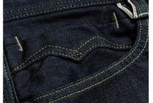 Bolso frente calça denim/jeans / Bolso com detalhes e bolso relogio.