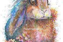 Rabbit Art / Rabbit / bunny painting watercolour and pen By Sophie Appleton. Art for sale £13.95 each, post worldwide . On the 'Art 4 SALE' page of www.sixfootsophie.co.uk