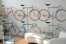 Bicycle as an interior decoration / I love the idea of a bike not being a disturbing element in your flat but rather a modern urban trophy hanging from your wall... Why not to instal your vintage bike, fixie, your best piece (or all of them) as an interior decoration? - http://bikestein.com/bicycle-interior-design