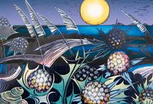 NEW Artist Judith Stroud, Printmaker / I love making things. I have lived in faraway places and still love travelling but South Wales has been my anchor for many years now. My fine art training gave me a useful foundation and nowadays I still love textiles, I'm a keen cook, but my real obsession is printmaking. Everything I love about living in Wales finds its way into my artwork and more. A windy walk along the seashore or over the hills inspires my next linocut or monotype and offers rich pickings for a wild-food feast.
