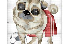 Cross stitch - pugs
