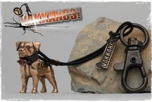 Vakkancs Rottweiler / Mini-sculpture. Bronze keyring and sterling silver pendant.  http://www.vakkancs.eu/vakkancs_dogs/rot