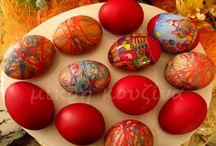Αυγά πασχαλινά βαμμένα με κλωστές