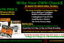 Write Your Own Checks / Writing Course with WritingCoach DwriteWELL showing you simple ways, easy to use tools, amazing systems and strategies to make a living writing well, so you can begin writing to brand your market to start leveraging your writing career as a Journalist, Reporter #CelebrityInterviewer, Copywriter, Magazine Writer, Blogger, and Newsletter Writer.