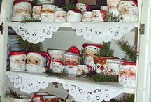 Red and white Christmas china