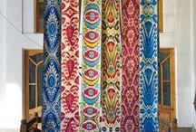 Uzbekistan - Nomadic or Tribal Bohemian / Ikat pattern Textiles from Uzbekistan and local designs