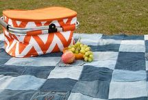 picnic blanket from old jeans