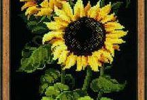 punto cruz,  flores