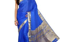 Parchayee Red Solid Tussar silk Saree