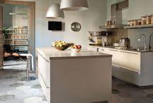 Carrelage cuisine / Carrelage deco crédence luminaires couleurs murs
