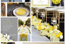 Gray and yellow wedding decor