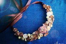 bijuterii flori textil