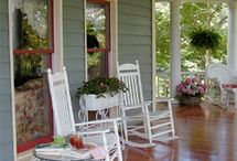Front Porches / A favorite gathering place for years for families, friends, or individuals to sit, rest, rock, swing, visit, read, or watch the world go by.
