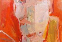 Sandrine / Taupe rouge gris et blanc  en 1 m sur1m