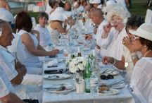 Okanagan Diner en Blanc / Hundreds of people dressed elegantly in white, converged in high spirits at a secret location, shrouded in mystery, set up miles of tables, dined picnic style on local food, wine and champagne until midnight for the annual Diner en Blanc.