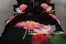 Free Shipping 2013 New 3D Modern Bedding Set Cotton Lotus Floral Flowers Duvet Doona Cover Set