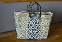 Handmade woven plastic tote bag