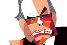 Retratos + Caricaturas 04 / Pinturas y caricaturas de famosos. Portraits and cartoons.