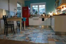 Kitchens by Marrakesh Cement Tiles / Marrakesh cement tiles used in various ways in kitchens and dining areas