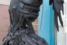 Esculturas feito de pneus