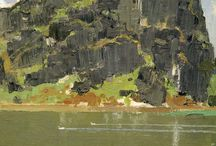 Landscape / Plein air and studio landscape paintings in oil, based on the artist Yim Mau-Kun's trips to China, Russia, Europe, New Zealand and also Taiwan
