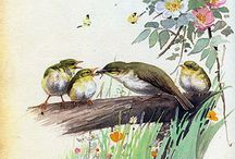bird, nature / painting