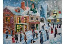 Merry Christmas everyone ! Seasonal paintings / All my Christmas winter scenes including my 'A Christmas Carol' Scrooge paintings.