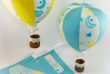Με θέμα τον αέρα και τον ουρανό. Air and sky, decorate children room or baptism, Handmade, / Υφασμάτινες  κατασκευές με θέμα τον αέρα, αερόστατα, αεροπλάνα, χαρταετός, σύννεφα, αστέρια. Διακοσμητικά χώρου, παιδικό δωμάτιο.  Celebrations, decoration, Baby Child Mobile, sewing, Fabric hot Air Balloon