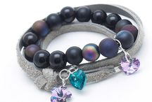 Bracelets / bracelet, jewelery, beads, natural stones, leather, Swarovski, wooden bracelet