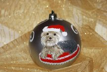 My hand painted yorkie christmas balls / xmas ornaments and decorations - yorkshire
