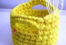 Canastos tejidos / Canastos tejidos al crochet, en tela o trapillo. Super prácicos. Todos los colores y diferentes tamaños www.sofiasimagona.com