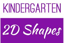 Kindergarten: 2D Shapes / This board contains resources for Texas TEKS:  K.6A - identify two-dimensional shapes, including circles, triangles, rectangles, and squares as special rectangles K.6C - identify two-dimensional components of three-dimensional objects K.6D - identify attributes of two-dimensional shapes using informal and formal geometric language interchangeable K.6F - create two-dimensional shapes using a variety of materials and drawings