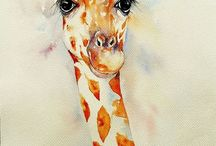 Giraffe Art / Watercolour and other media paintings of Giraffe by Arti Chauhan