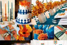 orange and blue wedding