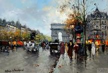 Art by Antoine Blanchard / Paintings by Antoine Blanchard of streets in Paris