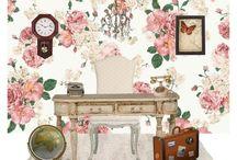 A. SET SHABBY CHIC. POLYVORE. / Inspiración: muebles antiguos pintados en blanco decapados. Patinados. Paleta de colores pasteles. Estampados florales. Casas de campo inglesas.