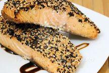 salmão com crosta de gergelim na frita  Light