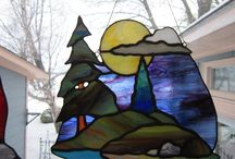 tree#water#mountain#clouds and sun stained or fused glass project