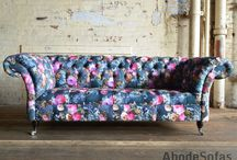 Floral Chesterfield Sofas & Chairs / Botanical Floral Velvet Chesterfield Sofa, Exclusive Printed Velvet | Abode Sofas