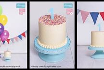 Cake Smash Shoots / Cake smash shoots with cakes by Flourgirl Cakes. Photography by Cherry Blossom Baby, Loughton.