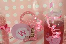 Baby shower ideas / Baby shower fun... Test tube of pink jelly beans, gift box of pink white chocolate popcorn and baby bottle cocktails!