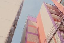 pastel colour building