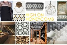 KKDL TRENDWATCH 2016: HIGH ON HONEYCOMB / Similar to the low maintenance, high fashion Delightfully Deco trend, High on Honeycomb is inspired by intricate detailing and consistent patterns to heighten simple design elements. Honeycomb patterns are typically symmetrical and contrasting but have evolved into a symbol of retro whimsy and high fashion design. As a wall element or floor tiling, High on Honeycomb can be substituted for plain patterns or old texture to update a space and add a cool 70's flare.  / by Kerrie Kelly Design Lab